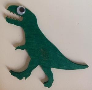 dinosaure sur support bois